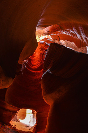 Inside the slot canyon on the Navajo reservation outside page AZ.  I'm using a 10 mm fisheye lens to get a very wide view of the chamber.