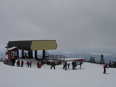 Summit Lift, haze created by snow blowing in the wind