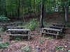 Evidently, this park is where picnic tables go in retirement.  If you set up a camera to record this scene over several years, we're sure the picnic table slowly merge into the woods behind them.