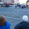 Pam and Melissa get a vantage point in the middle of Center Street as the parade starts.