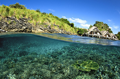 Misool Eco Resort, Raja Ampat, Indonesia  Number of Bungalows: 8  What's Unique: On a private Indonesian island inside a protected No-Take Zone, this dive resort and conservation center treads lightly. Not a single tree was felled to create Misool, a Secret Retreats-member resort. It was built entirely of driftwood and naturally fallen timbers milled onsite in the presence of cockatoos, parrots, baby sharks, and sea turtles. Surrounding Misool are some of the richest reefs on Earth, in the waters of the Coral Triangle region. When you're not diving, read a book on your verandah's hammock or soak in the tropical vibe while showering in a Balinese-style bathroom that opens up to the sky.  Over-the-Top Services: Excellent service is a hallmark here. The resort's maximum capacity is only 32 guests and the staff-to-guest ratio is three to one. Book the spa's after-sun skin-rescue treatment, complete with a banana-leaf body wrap right on your verandah.  Rates: From $350 per person per night.