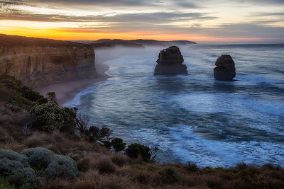 Overlooking Gibson's Steps at 12 Apostles at sunrise