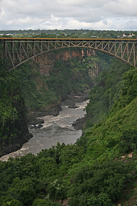 This bridge connects Zambia to Zimbabwe.  Tourists can cross at a border checkpoint here to continue walking along the falls in Zimbabwe.