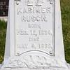 Kasimer Rusch, white bronze (zinc) marker  St. Fidelis Cemetery, Victoria, KS