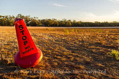 Stop - No Boats, a very dry Green Lake, Victoria