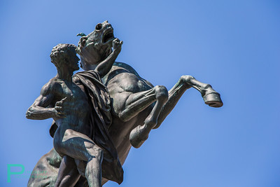 There were a lot of statues of men punching horses