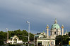 In the foreground you can see the two facing parts of the Karlsplatz train station.