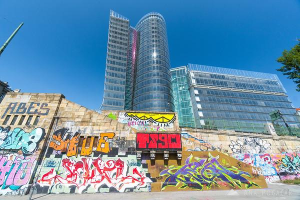Uniqa Tower and some colorful grafitti along Donaukanal