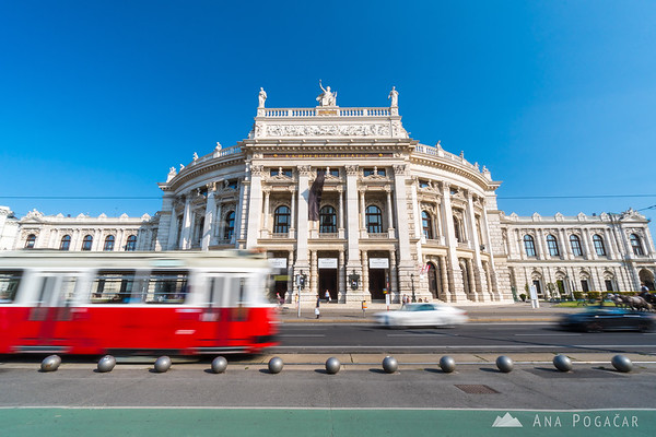 Red tram going past Burgtheater