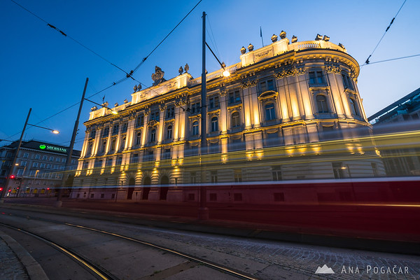 Early morning tram going past the House of Industry