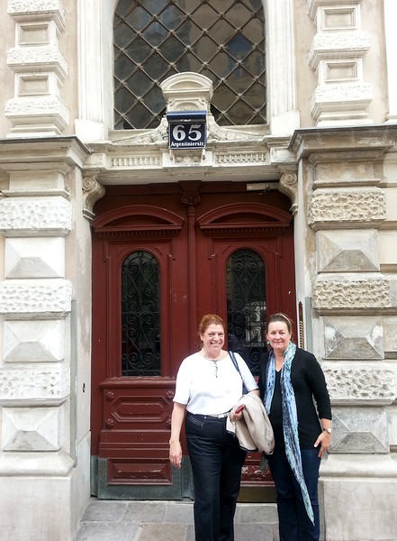 Jane and Martina, front of our apartment, Vienna