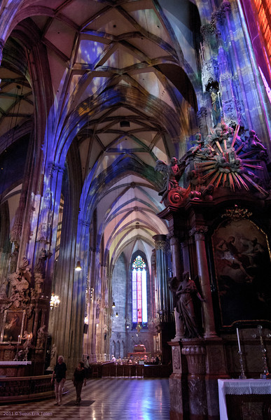 Multicolored II<br /> Stephansdom, Vienna,  interiour decorated for festival days