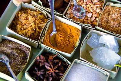 An array of Vietnamese herbs and spices