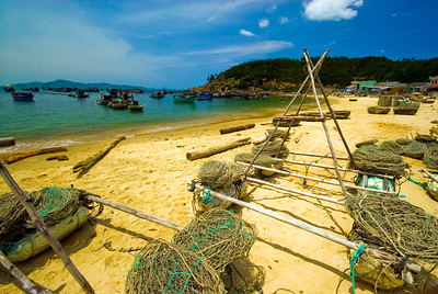Fishing nets and floats drying in the sun - Quy Nhon - Vietnam