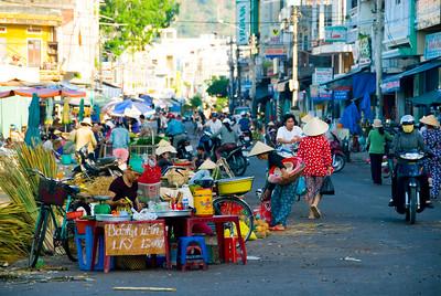 Busy street markets selling fresh local produce - Qui Nhon - Vietnam