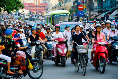 Ho Chi Mihn City (Saigon) a city of 8 million people and 3 million motor cycles - every hour is rush hour.