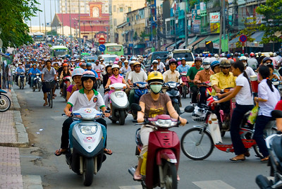 Ho Chi Mihn City (Saigon) a city of 8 million people and 3 million motor cycles - the streets are constantly jammed.