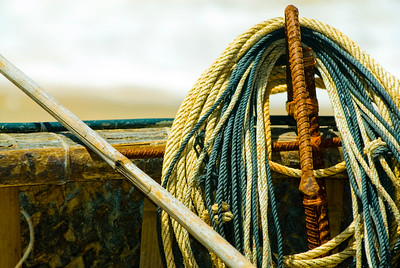 Ropes and anchors aboard a traditional Vietnamese fishing boat.