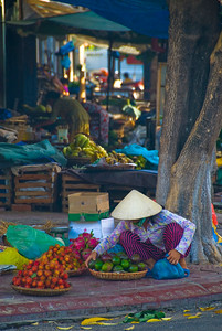 Streetside vendor selling fresh local produce - Qui Nhon - Vietnam