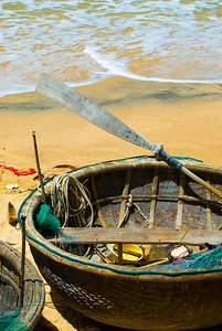 Traditional Vietnamese basket boat (thung chai) awaits the incoming tide.