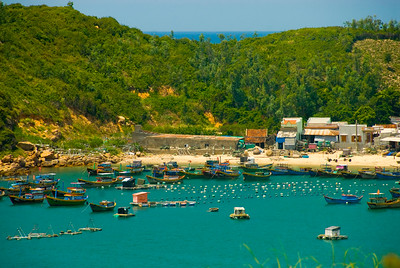 The fleet at anchor off a fishing village - Quy Nhon - Vietnam