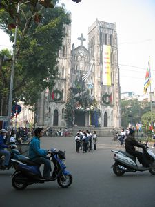 Hanoi Cathedral. We happened upon it just as one of the private schools close by let out, and the square filled with students. The Christmas decorations were interesting.