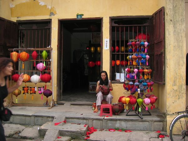 Making silk lanterns in the oldest part of Hoi An.