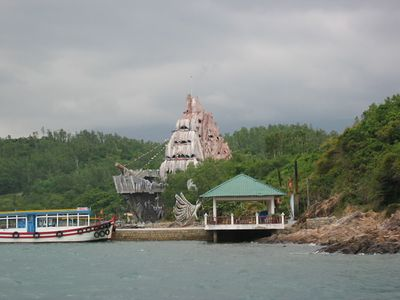 The astonishingly gauche Pirate Ship in a cove off the coast of Nha Trang.