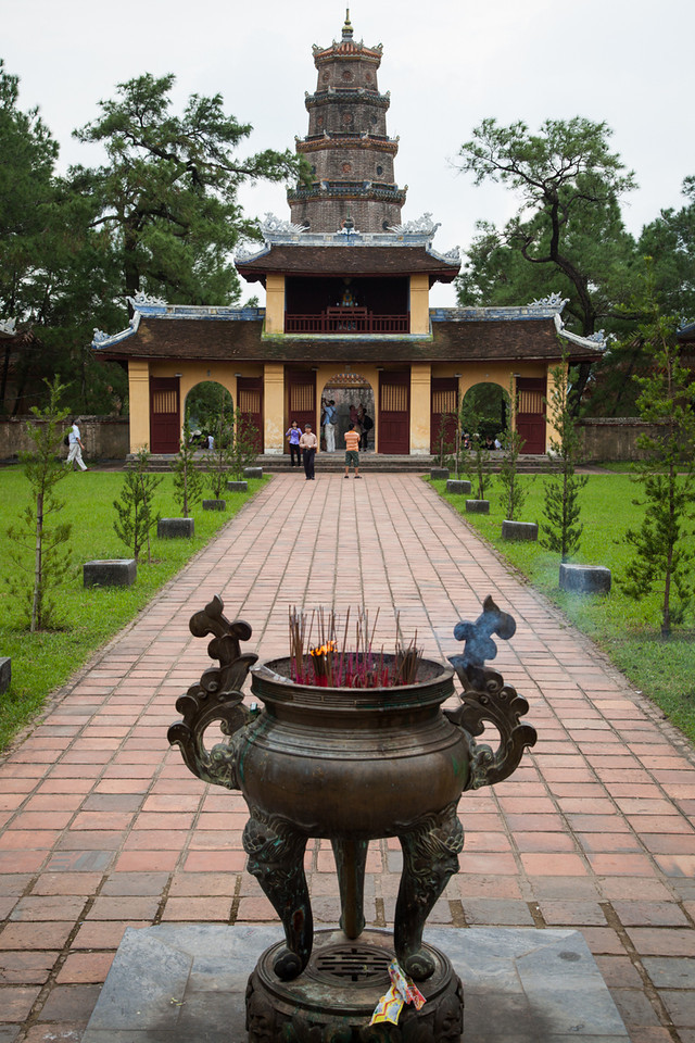 A shot of Thien Mu Pagoda from the main sanctuary.