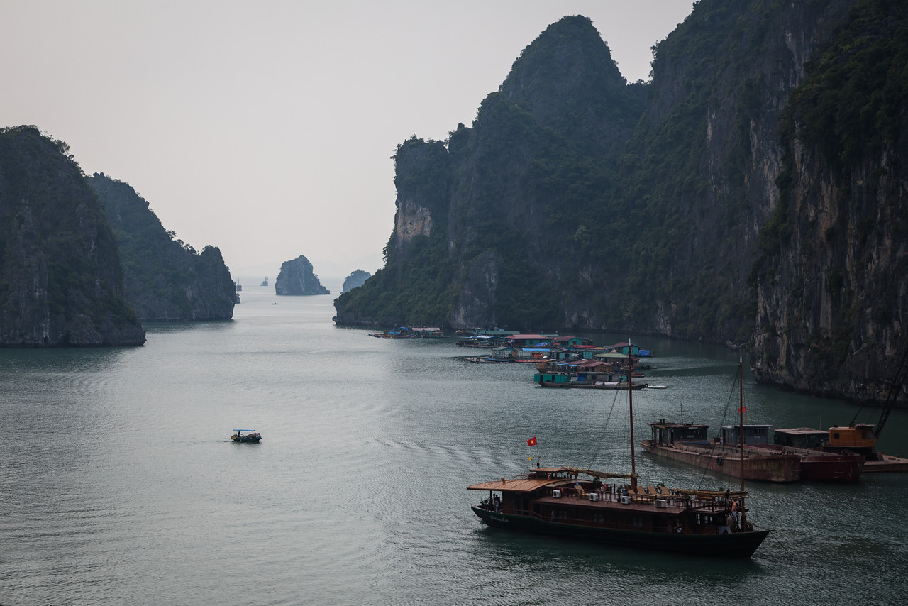 A view from the entrance to the Amazing Cave in Halong Bay.