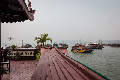 A view from the deck of the Oriental Sails in Halong Bay.