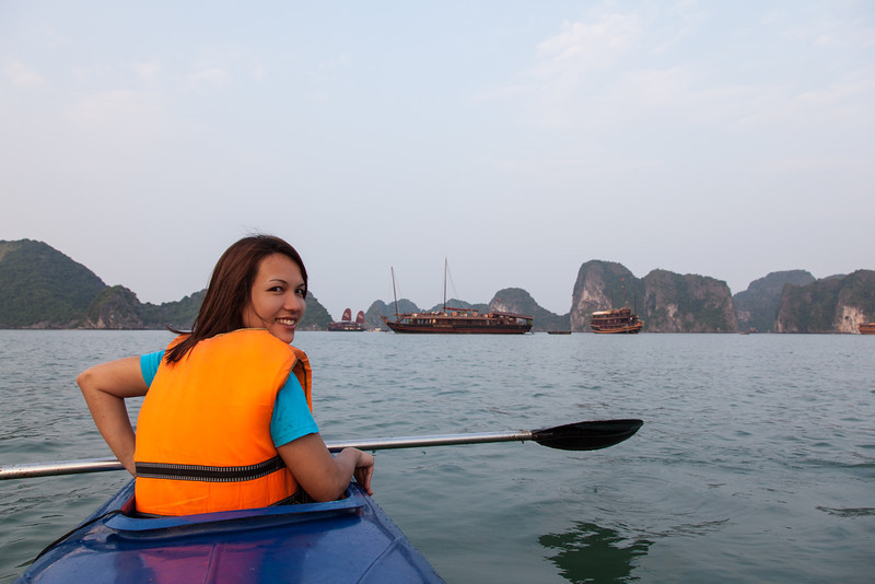 Am out paddling in the kayak in Halong Bay.