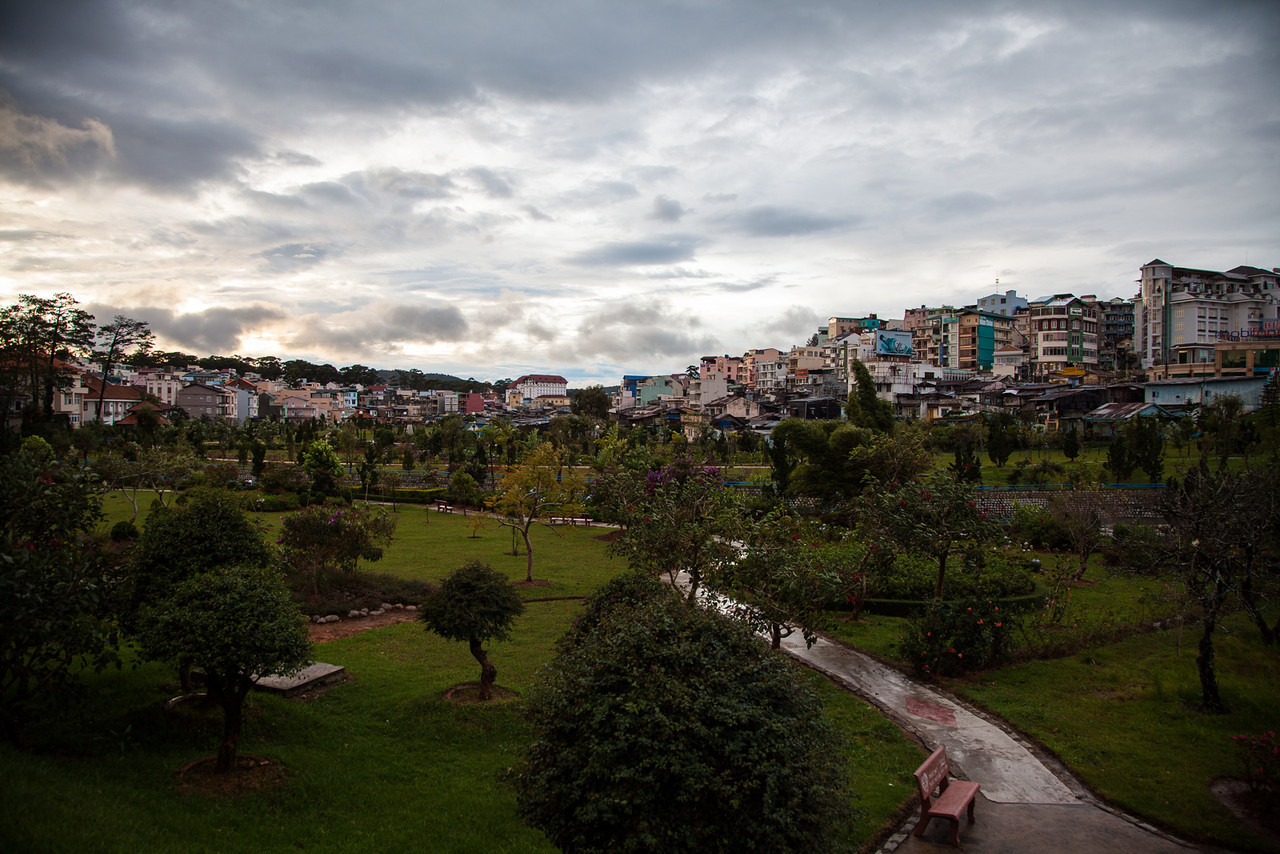 A view of the clearing skies over Dalat after the typhoon passed.