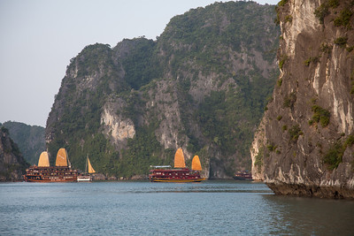 A view of some Chinese junks in Halong Bay.