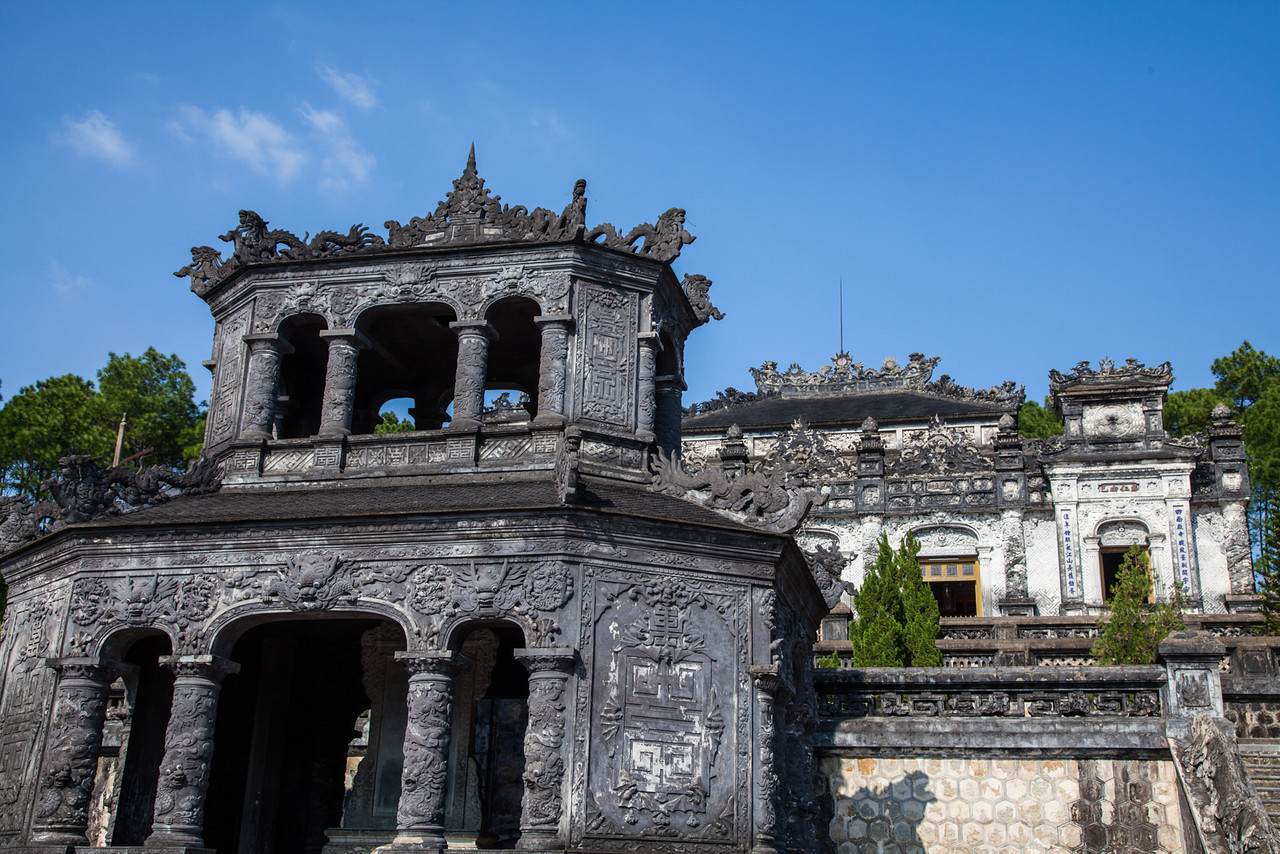 The exterior of Khai Dinh's tomb showing some of the European architecture combined with traditional Vietnamese.