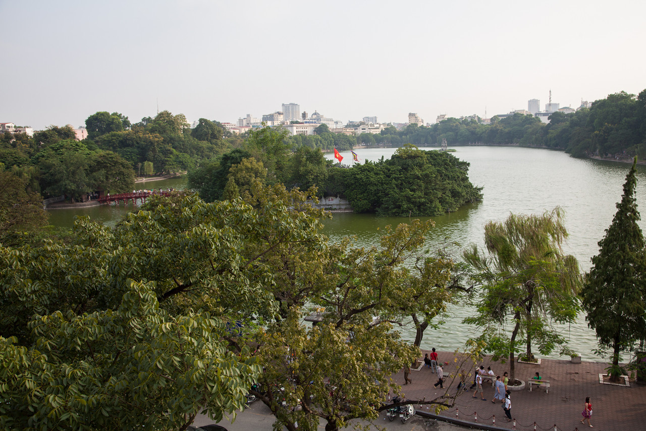 A view of Ngoc Son Temple, The Huc Bridge, and Hoan Kiem Lake.