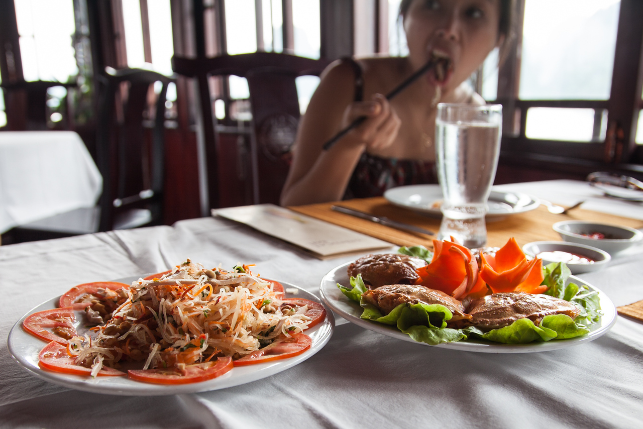 (Sorry, Thien!) Some papaya salad and stuffed crabs for lunch aboard the Oriental Sails.