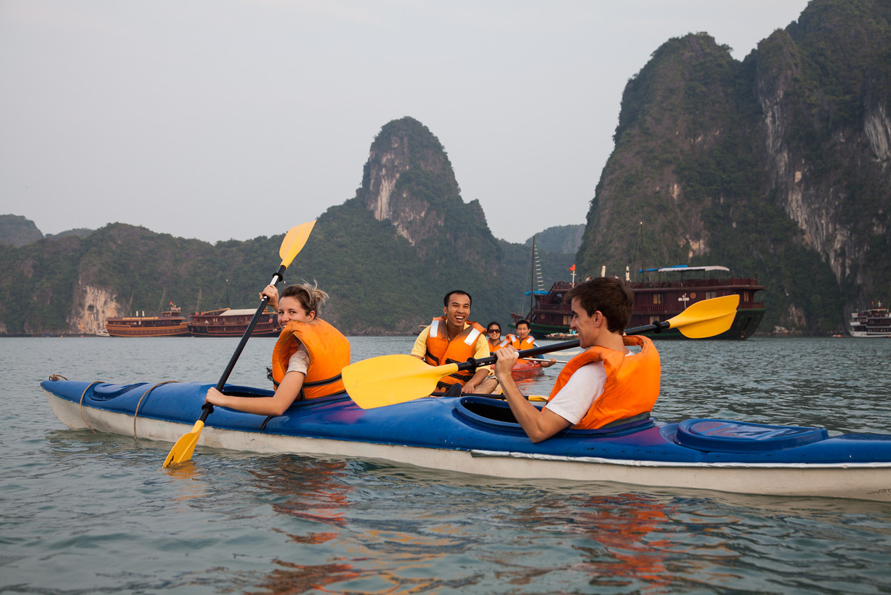 Some folks from our boat paddling in their kayaks.