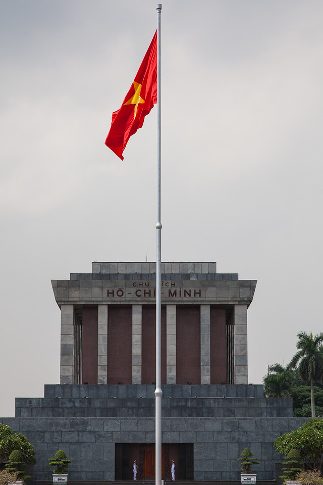 Ho Chi Minh's Mausoleum on a grey day.