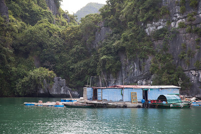 Small fishing village in Halong Bay.
