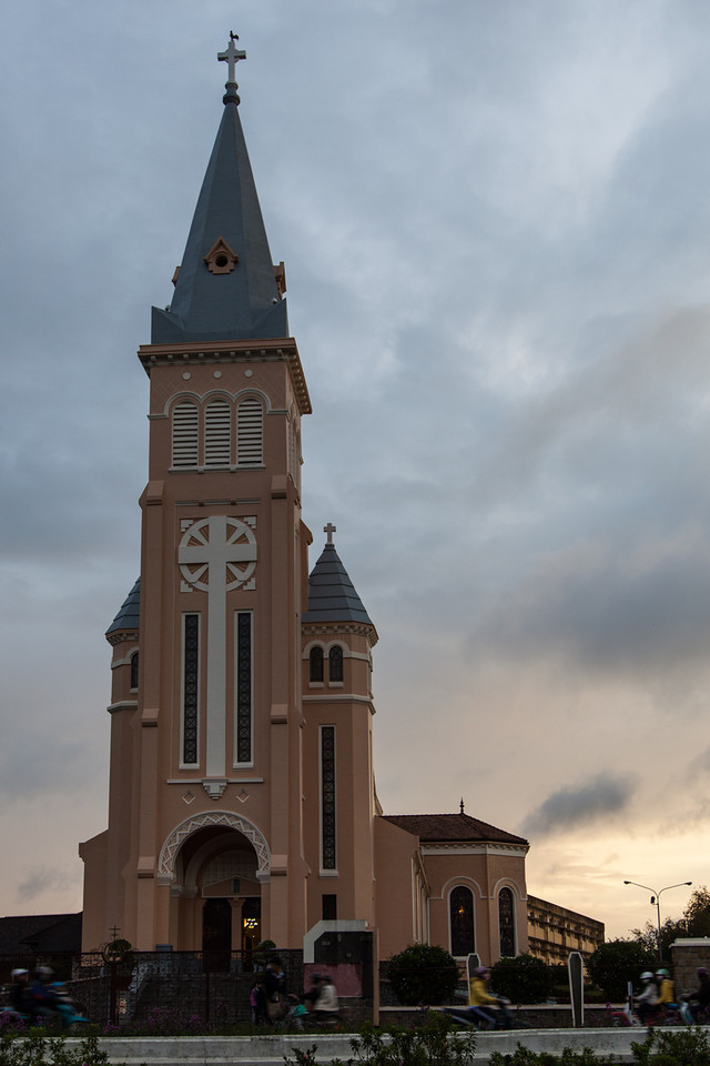 The Dalat Cathedral, just before sunset.