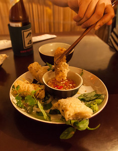 Some cricket spring rolls for dinner at Highway 4 in Hanoi.