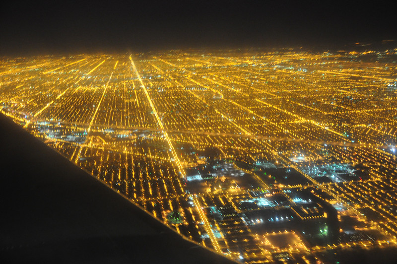 just prior to landing at O'Hare airport in Chicago