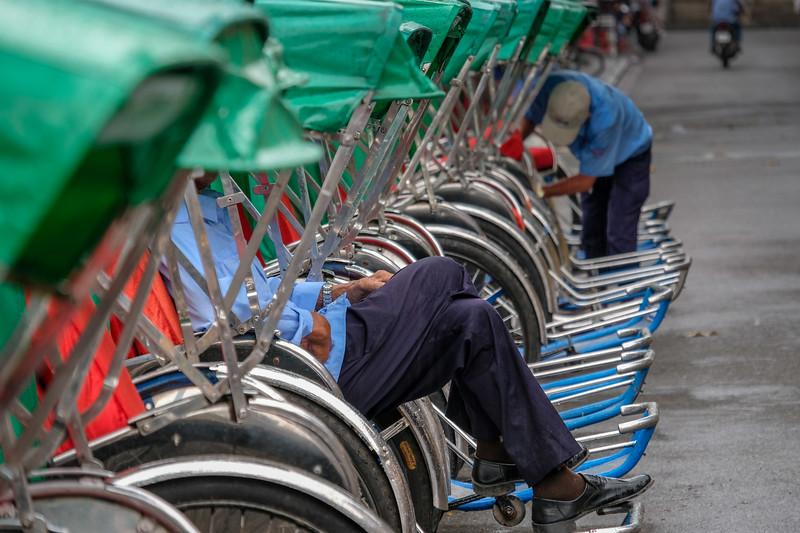 Pedicabs await