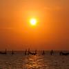 Sunset over fishing nets
