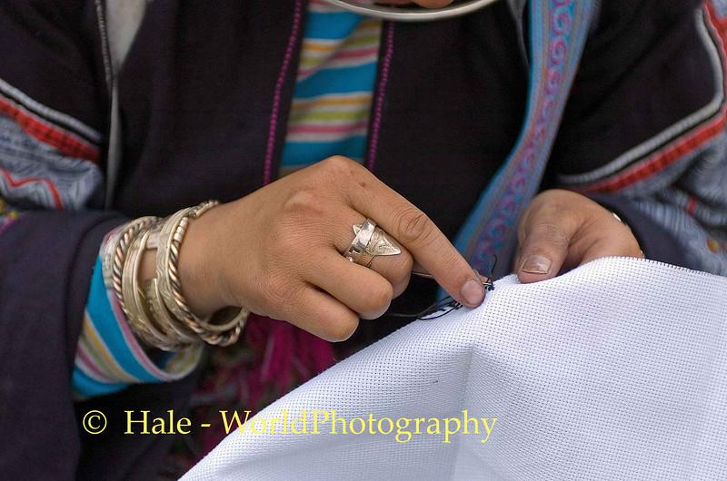 Hmong Girl Embroidering, Sapa Vietnam