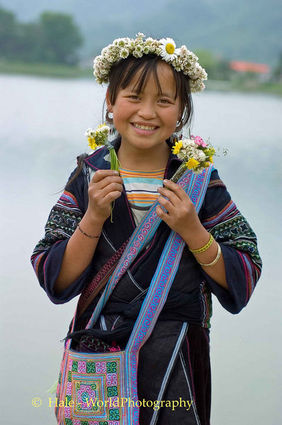"""""""Flower"""" Hmong Girl with Wild Flowers"""