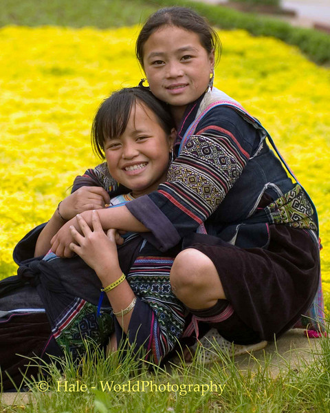 Hmong Girls Relaxing in Park, Sapa Vietnam