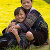 Hmong Girls Relaxing in Park, Sapa Vietnam