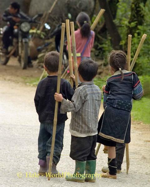 Hmong Walking Stick Vendors, Sapa Vietnam